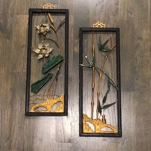 Vintage 1950s metal  bamboo wall art decor gallery